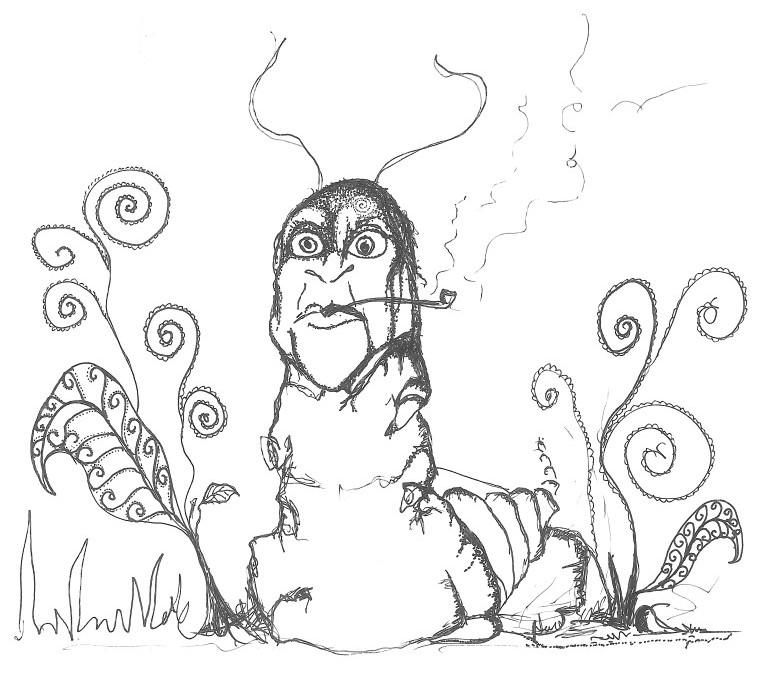 pipe or hookah-smoking caterpillar