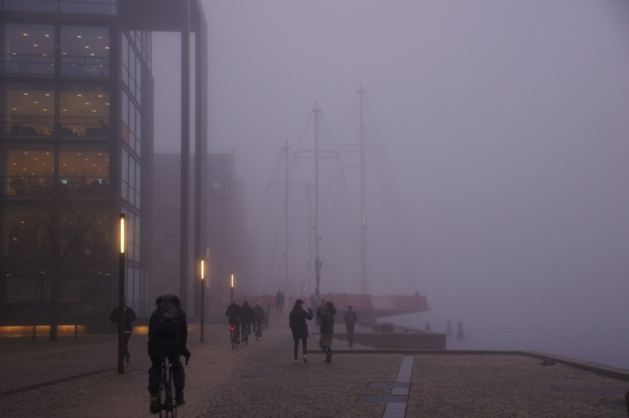 Olafur Eliasons bridge in fog